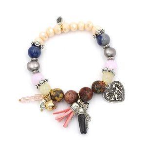 Colorful bead silver heart bracelet